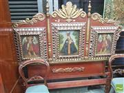 Sale 8428 - Lot 1056 - Unusual South American Baroque Style Painted & Gilt Bedhead, with three Cusco School oil on canvas panels of Madonna with child & tw...