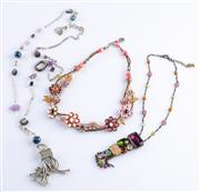 Sale 8550F - Lot 199 - Three pretty costume jewellery necklaces with multi coloured beads.