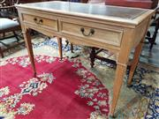Sale 8792 - Lot 1069 - Late Victorian Pine Leather Top Desk, fitted with two drawers & on tapering legs with castors