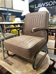 Sale 8896 - Lot 1059 - Pair of Upholstered Metal Framed Armchairs