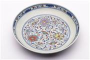 Sale 9027D - Lot 777 - A Chinese Doucai plate decorated with flowers (Dia 20cm)
