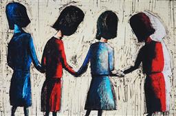 Sale 9078A - Lot 5052 - Charles Blackman (1928 - 2018) - Four School Girls 66 x 100 cm (frame: 84 x 117 x 3 cm)