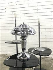 Sale 9059 - Lot 1022 - Collection of 3 Chrome Table Lamps (h:57cm)