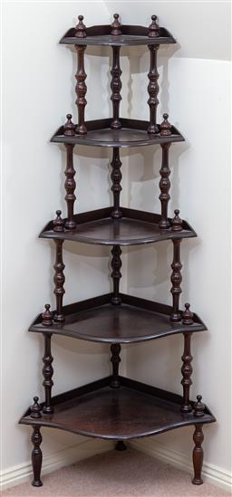 Sale 9103M - Lot 721 - A five tier timber corner whatnot, Height 152cm