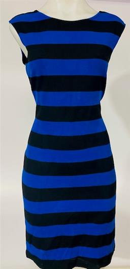 Sale 9092F - Lot 24 - A MICHAEL KORS A LINE ROUND NECK DRESS, in black and blue, Size M