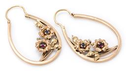 Sale 9160 - Lot 334 - A PAIR OF VINTAGE 14CT GOLD STONE SET EARRINGS; open oval drops attached with sprigs of flowers set with synthetic rubies and sapphi...