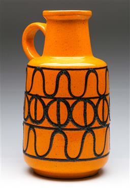 Sale 9168 - Lot 71 - A large West German handled vase in yellow tones H:41cm