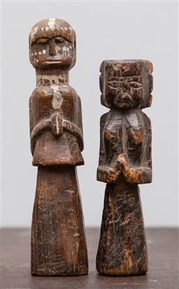 Sale 9160H - Lot 89 - Two late c.19th Nepalese protective doll figures, taller Height 19cm, ex Marie-Francoise