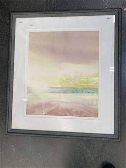 Sale 9176 - Lot 2150 - Don Morris Stormy Sunrise watercolour 80 x 70cm, signed lower right -