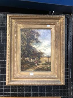 Sale 9172 - Lot 2002 - WILLIAM MAUGHAM - Figures in Countryscape, c1880s 29 x 21.5 cm (frame: 49 x 40 x 5 cm)
