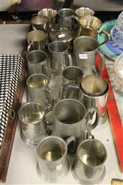 Sale 8327 - Lot 85 - Silver Plated Tankards & Other Metal Wares incl Gravy Boat