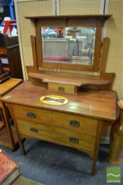 Sale 8489 - Lot 1063 - Timber Mirrored Back Dressing Table with Three Drawers