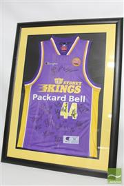 Sale 8540 - Lot 115 - Framed Kings Basketball Memorabilia incl Signed Jersey and picture