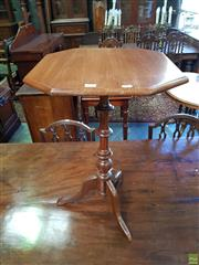 Sale 8576 - Lot 1008 - Victorian Walnut Occasional Table, with octagonal top & turned pedestal