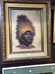 Sale 8648B - Lot 2065 - Bo Newell - Portrait of African Male in Ceremonial Dress, oil on canvas, frame: 90 x 75cm, signed lower right