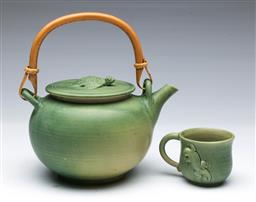 Sale 9098 - Lot 252 - Green Glazed Teapot with Bamboo Handle