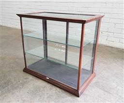Sale 9142 - Lot 1067 - Early 20th Century Table Top Display Cabinet, with glass panel doors to back and small plaque (H: 70 x W: 81 x D: 42 cm) (crack to t...