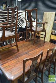 Sale 8331 - Lot 1575 - Antique Pine Dining Table & Set 8 Maple Chairs