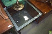 Sale 8331 - Lot 1065 - Glass Top Coffee Table on Metal Base