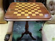 Sale 8576 - Lot 1059 - Victorian Walnut Games Table, with chessboard top & turned pedestal