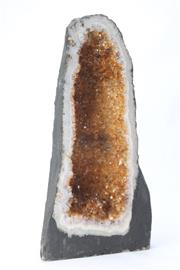 Sale 8677 - Lot 4 - Amber Colour Crystal Cave (H 47cm)