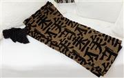 Sale 8902H - Lot 86 - A black and brown Chinese character decorated, tasselled bed spread