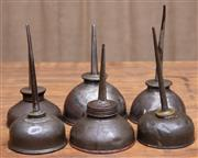 Sale 8984H - Lot 67 - A group of six early oil pourers. Approx 15cm