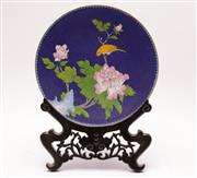 Sale 9027 - Lot 90 - A Cloisonne Chinese Plate Featuring Bird On stand (dia 26cm)