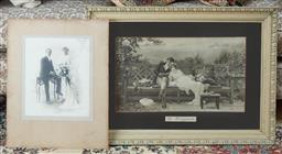 Sale 9103M - Lot 592 - A framed print of The honeymoon couple, frame size 54cm x 73.5cm, together with another