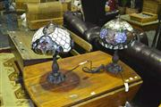 Sale 8165 - Lot 1023 - Pair of Leadlight Shade Table Lamps