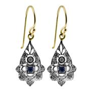 Sale 8265 - Lot 398 - A PAIR OF SAPPHIRE AND DIAMOND EARRINGS; pear shape deco style drops in 9ct gold. Length 24mm.