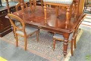 Sale 8267 - Lot 1040 - Victorian Mahogany Extension Dining Table, with single leaf & push-pull mechanism, raised on turned legs