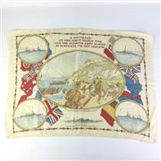 Sale 8793 - Lot 22A - Anzac Scarf c.1916, colourful scarf (42 x 59cm) featuring scenes of the Anzacs at Gallipoli. Rare