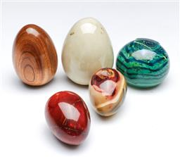 Sale 9098 - Lot 213 - Collection of Polished Eggs together with an Art Glass Paperweight