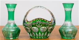 Sale 9103M - Lot 723 - A pair of green glass vases together with a green crystal basket vase. Height 14cm