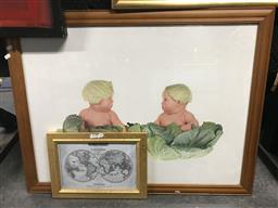 Sale 9106 - Lot 2100 - Two Baby Pictures and a Map Print (2)