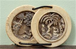 Sale 9120H - Lot 309 - Oriental carved bone toggle each half depicting figures amidst trees and pagodas. Diameter 7cm