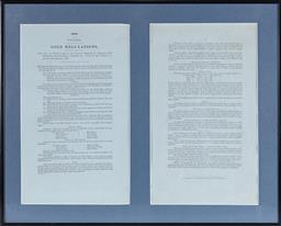 Sale 9130E - Lot 31 - A two page framed Victorian issue of gold regulations of 1854, which led to the miners revolt at Eureka stockade frame size 41cm x 51cm