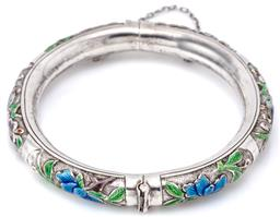 Sale 9140 - Lot 313 - AN ENAMELLED SILVER BANGLE; 9mm wide hollow hinged bangle with enamelled birds and flowers to box clasp with safety chain, internal...
