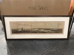 Sale 9176 - Lot 2176A - Early engraving of panoramic view of Sydney Harbour from North Shore, frame: 45 x 117 cm. -