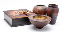 Sale 9185 - Lot 21 - Pokerwork kookaburra box together with two vases and a bowl (H of tallest vase:16cm)