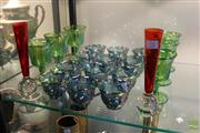Sale 8226 - Lot 75 - Art Glass Pair of Vases with Carnival Glass Goblets & Mugs