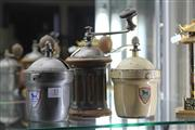 Sale 8261 - Lot 33 - White Enamelled Peugeot Coffee Grinder with a Fluted Example & Another