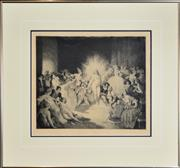 Sale 8295 - Lot 22 - Norman Lindsay (1879 - 1969) - Life in the Temple No. 176 30 x 35cm