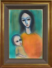 Sale 8297 - Lot 564 - Robert Dickerson (1924 - 2015) - Mother and Child 56 x 38cm
