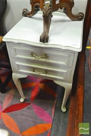 Sale 8328 - Lot 1067 - Pair of White Queen Anne Style Bedsides with Two Drawers