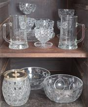 Sale 8489A - Lot 49 - Two shelf lots of glasswares including cut crystal bowls, biscuit barrel, tankards and a trifle set