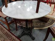 Sale 8550 - Lot 1443 - White Marble Top Table (80cm Diameter)