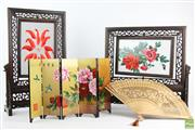 Sale 8543 - Lot 28 - Boxed Pair Of Chinese Rosewood Silk Screens Together With A Fan And Folding Screen (AF)