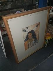 Sale 8648B - Lot 2060 - Portrait of an American Indian, watercolour, frame: 104.5 x 88cm, unsigned